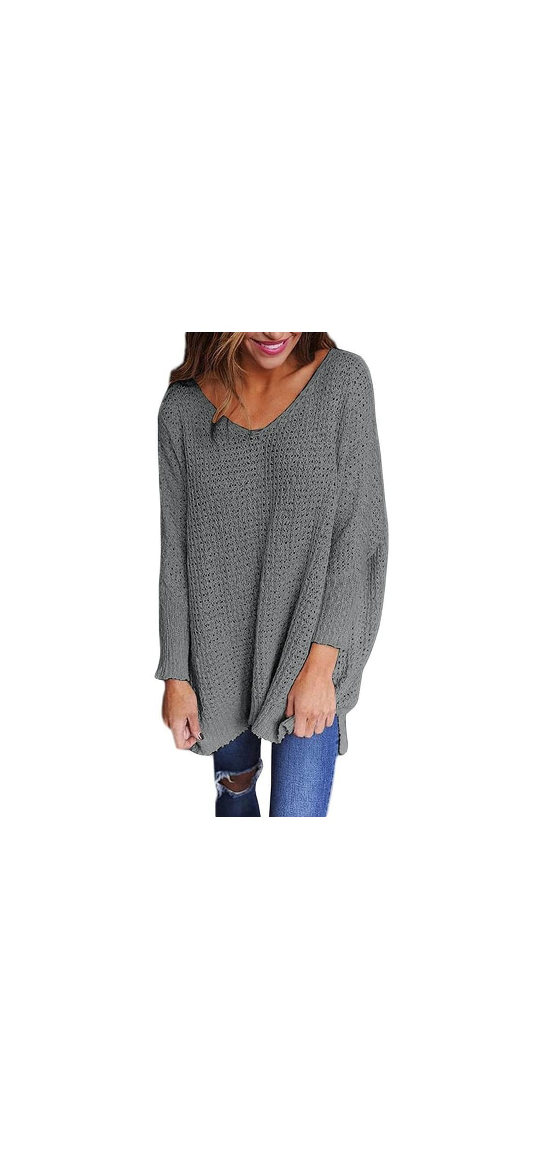Womens Oversized Sweaters Casual V Neck Long Sleeve Knit