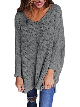 ae36127be06 Mafulus Womens Oversized Sweaters Casual V Neck Long Sleeve Loose Knit  Pullover Tops Grey