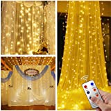 300 LED Twinkle Window Curtain Star Lights with 8 Modes Remote, Warm White Decorative Twinkly Fairy Icicle Hanging String Lights for Bed Canopy Bedroom Room Wall Wedding Christmas Decoration