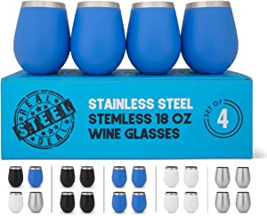 Stainless Steel Wine Glasses: Large 18 Oz Set of 4 Stemless Metal Wine Glass Set with No Lids- Outdoor Wine Tumbler for the Pool, Camping, Cookouts, Travel - Set of 4 Drinking Cups (Blue)