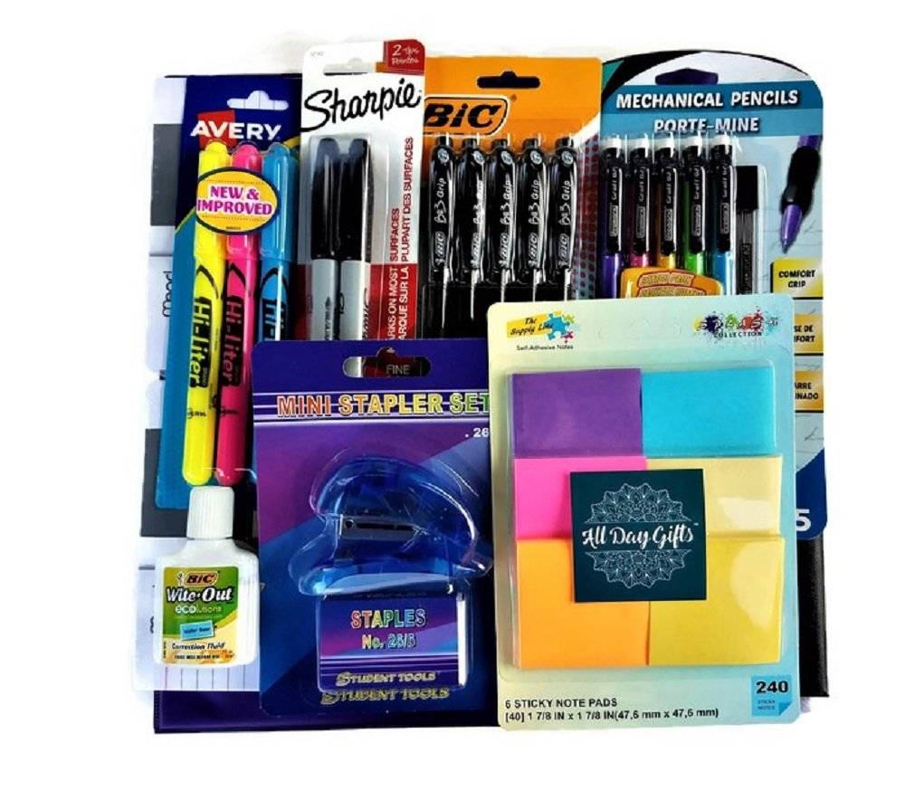Over 55 Count School Supply Bundle by All Day Gifts, for Middle, High School and College - Binder, Mechanical Pencils, Sharpie, Pens, Hi-liters, Folders, Note Books Plus More (College Ruled) by All Day Gifts (Image #8)