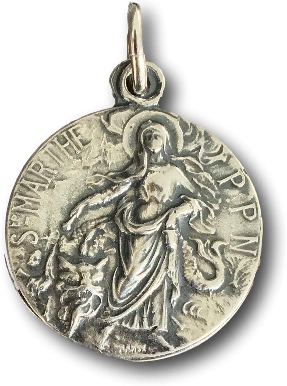 Sterling Silver Antiqued Saint Martha Medal