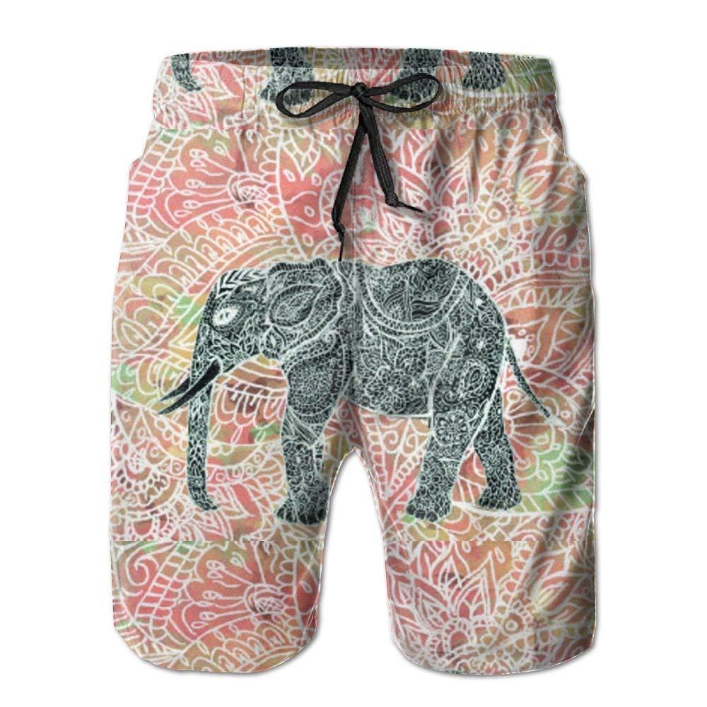 Floral Paisley Elephant Head Mens Quick Dry Beach Shorts Casual Shorts Breathable Swim Trunks Board Shorts Pants