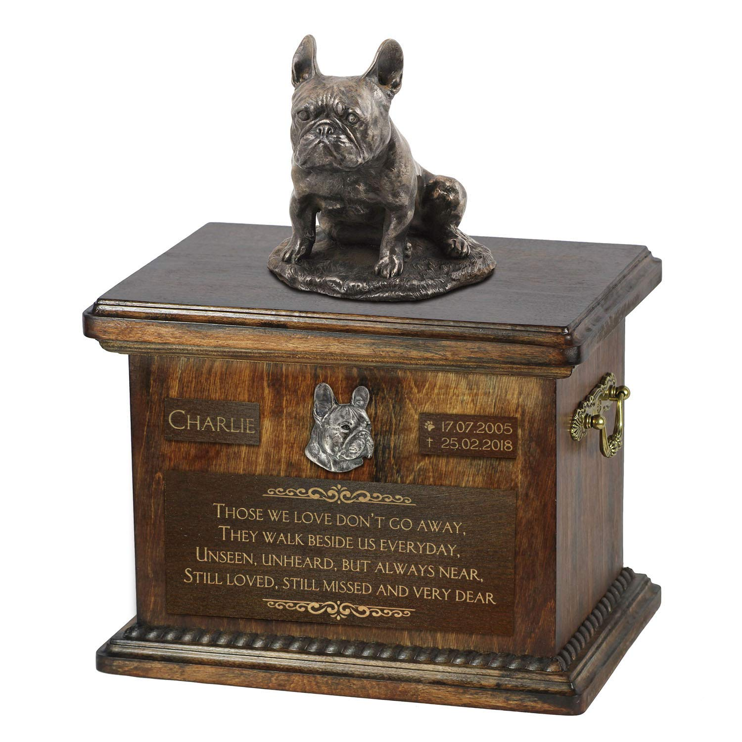 French Bulldog mama 3, Urn for Dog Ashes Memorial with Statue, Pet's Name and Quote ArtDog Personalized
