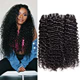 Maxine Deep Curly Wave 3 Bundles Brazilian Virgin Hair Extensions Unprocessed 9A Grade Smooth and Thick Deep Curly Wave Human Hair 100g/pcs 18 18 18 Inches