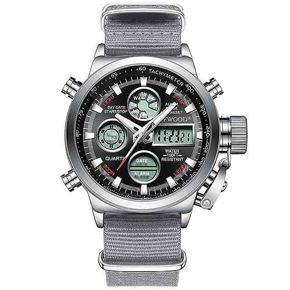 Unisex Reloj de la Armada Hombres Deportes Relojes Militares Grandes Dual Digital analógico Cuarzo japonés Movimiento