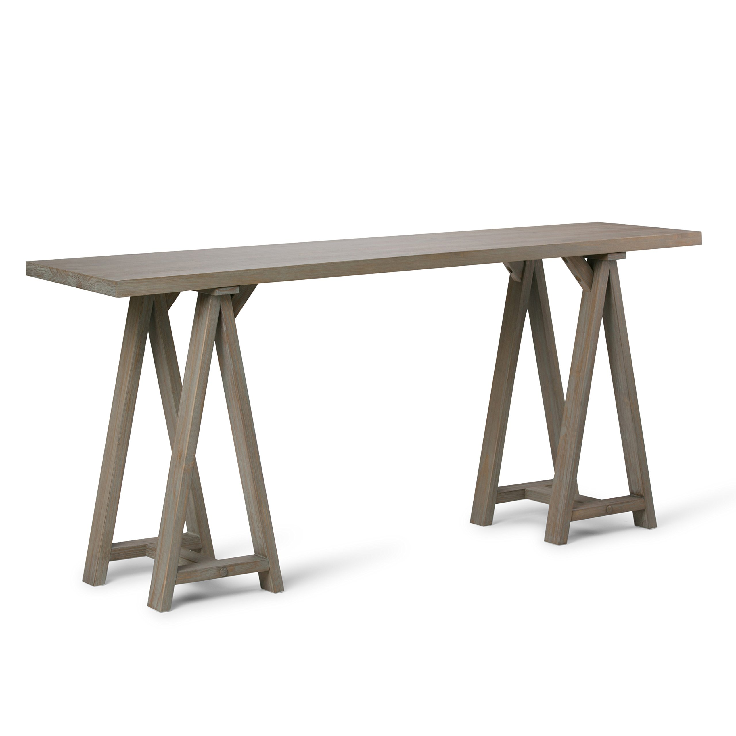 Simpli Home 3AXCSAW-03W-GR Sawhorse Solid Wood 66 inch Wide Modern Industrial Wide Console Sofa Table in Distressed Grey by Simpli Home