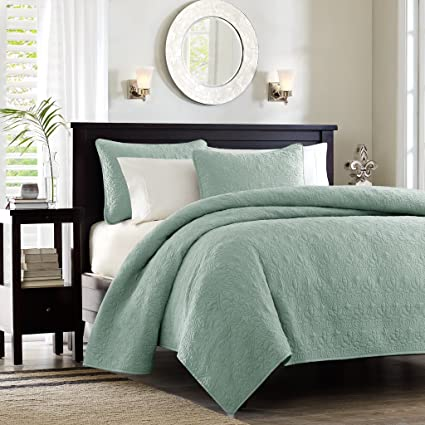 Madison Park Quebec Dusty Pale Seafoam 3 Piece Quilted King Coverlet  Setu2014For King
