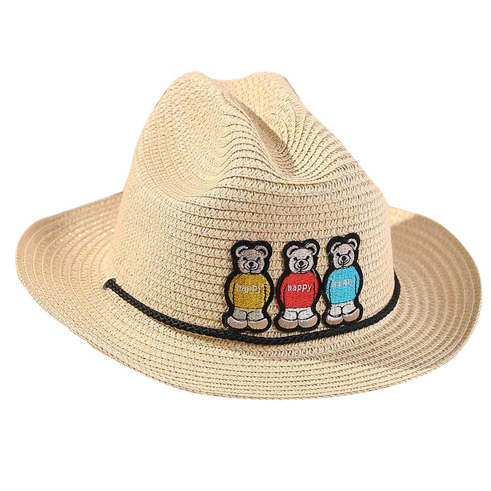 bb9dc995fee Amazon.com  MatchLife Childs Straw Cowboy Hat With Little Bear One Size  Khaki  Clothing