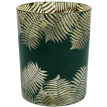 Windlicht Windlichthalter Teelichthalter Glas Grun Gold Mit Farn