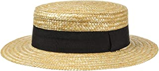 Lipodo Boater Straw Hat Ladies/Mens - Made in Italy - Sun hat Made of Wheat Straw - Gondolier hat for Spring/Summer - Hat with Grosgrain Ribbon