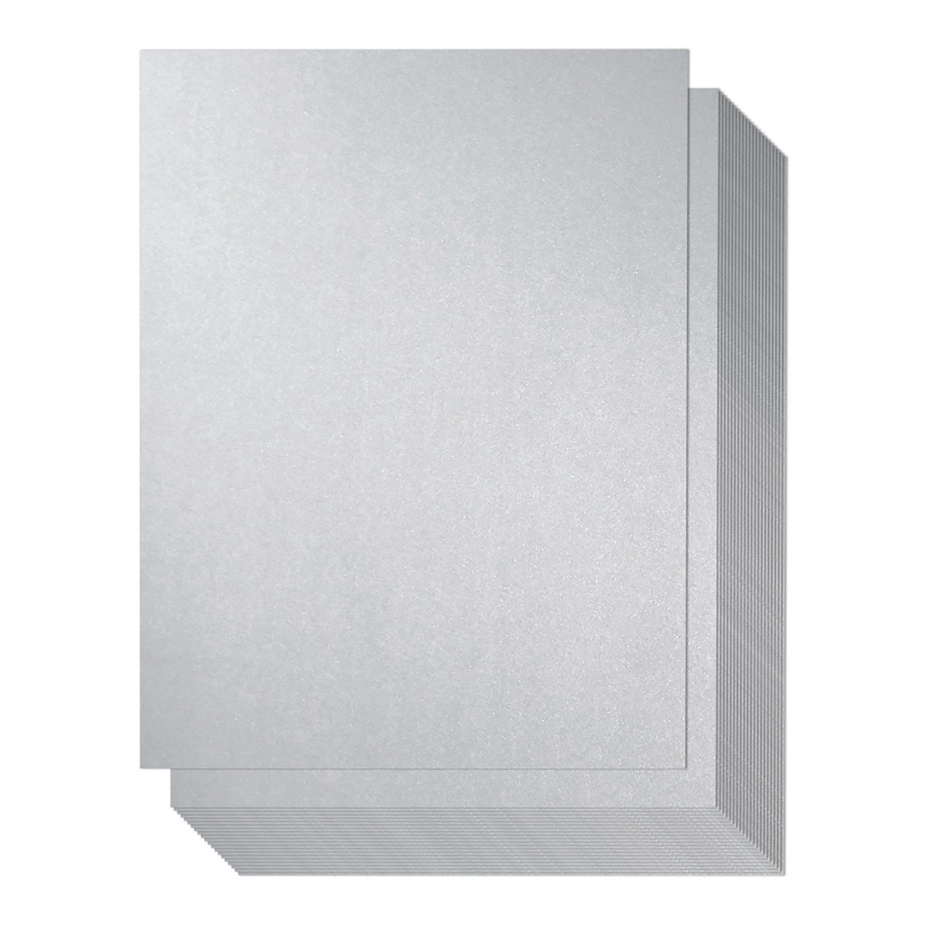 Shimmer Paper - 96 Pack-Silver Metallic Cardstock Paper, Double Sided, Laser Printer Friendly - Ideal for Weddings, Baby Showers, Birthdays, Craft, Letter Size Sheets, 250 GSM, 8.7 x 0.03 x 11 Inches