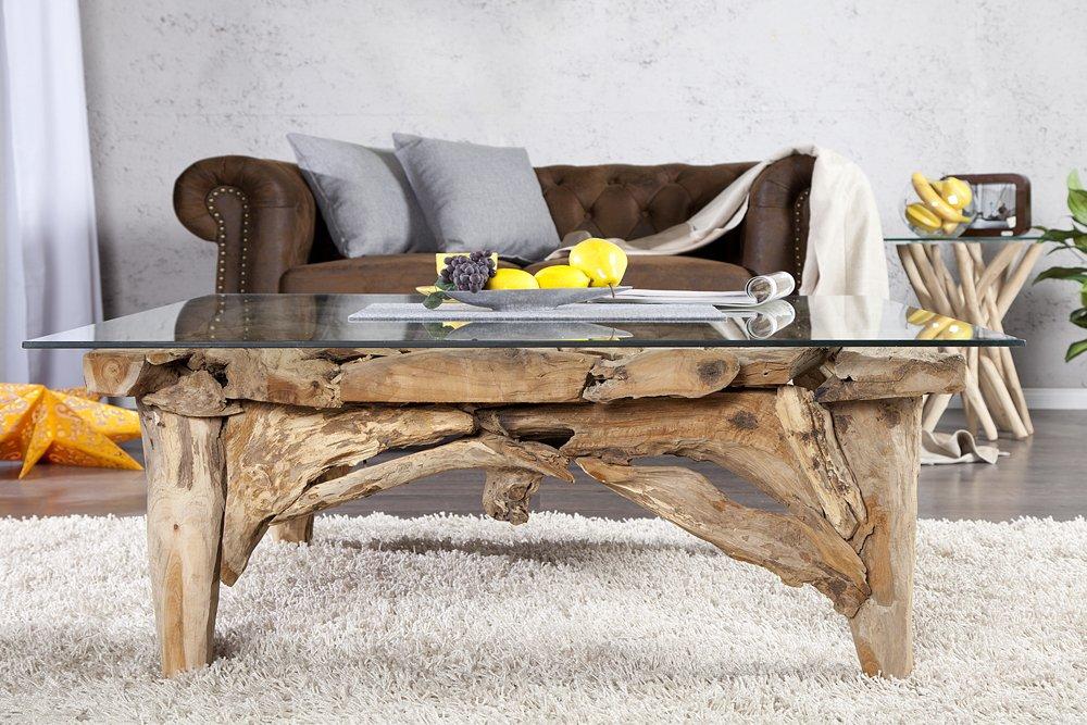 Design Couchtisch RIVERSIDE Teakholz Tisch Mit Glasplatte 100 Cm Holztisch Glastisch Wohnzimmer Amazonde Kche Haushalt