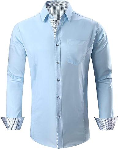 SWISSWELL Camisa de Hombre Tamaño Grande de Negocios/Casual Chic Camisas de Vestir de Manga Larga Slim Fit Manga Larga: Amazon.es: Ropa y accesorios