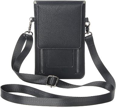 Zipper Phone Bag, Asnlove Premium PU Leder Crossbody Smartphone Tasche Schulter Umhängetasche weiche Taille Tasche Mode Handtasche mit Langem Riemen