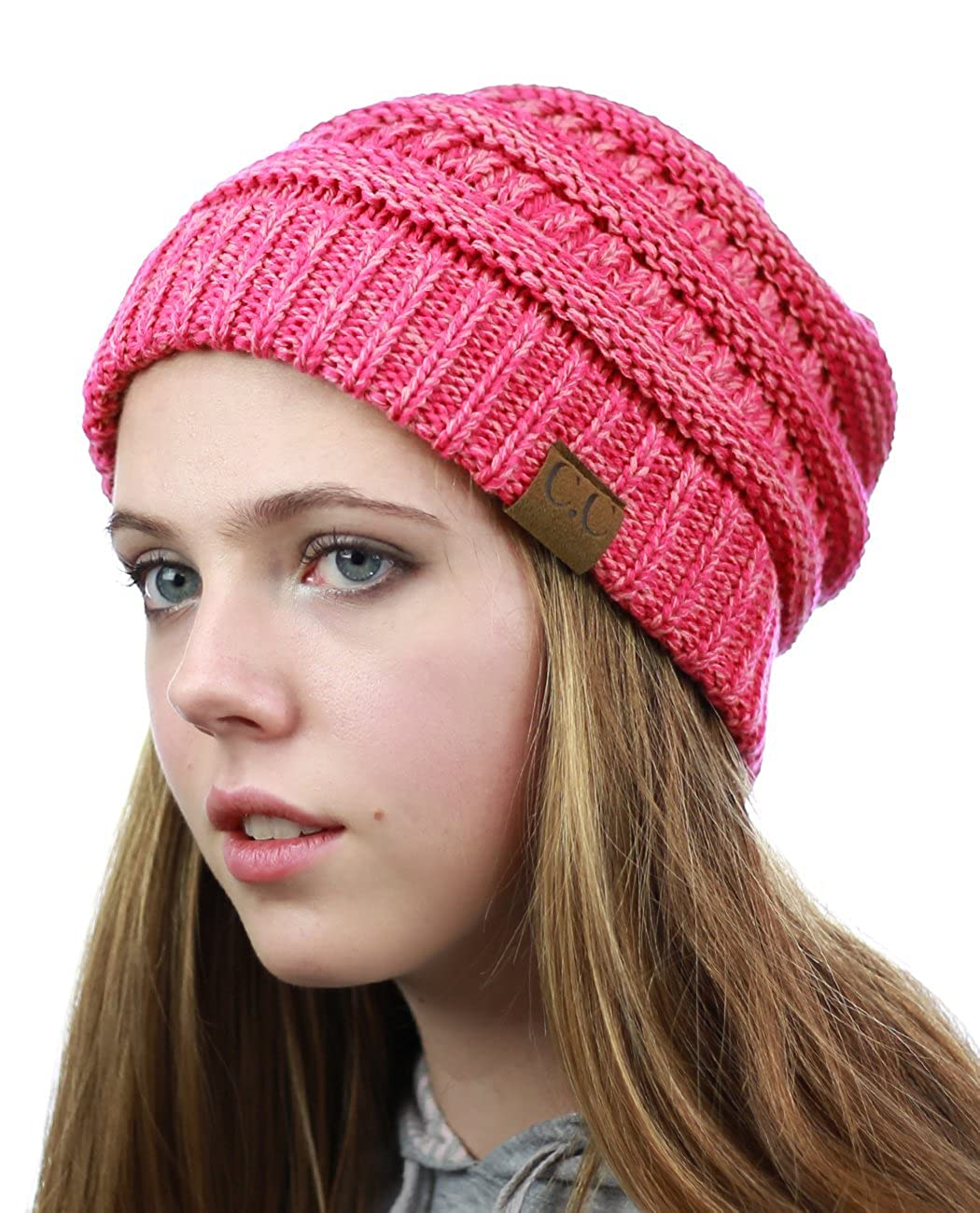 694aeb784ea26 NYfashion101 Exclusive Unisex Two Tone Warm Cable Knit Thick Slouch Beanie  Cap