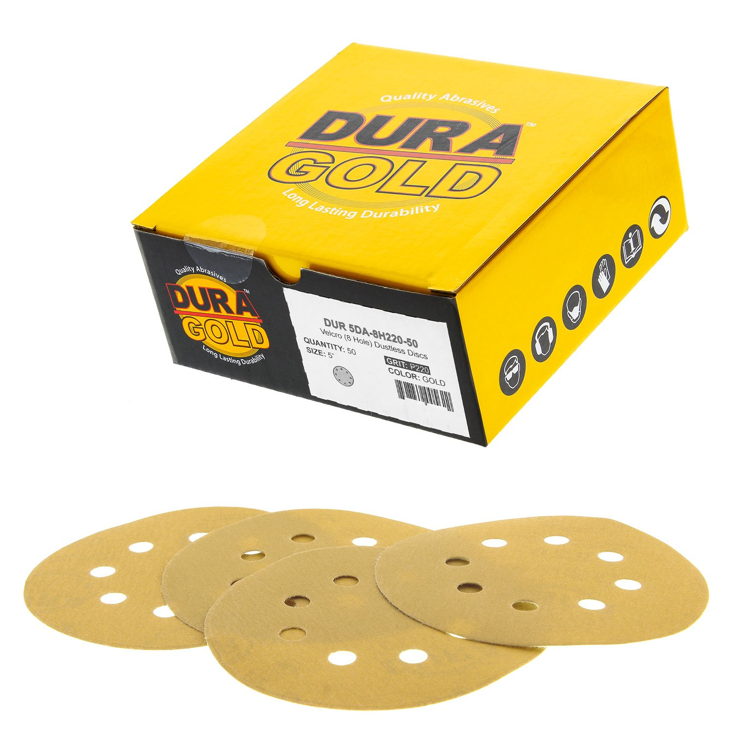 """Dura-Gold Premium - 220 Grit - 5"""" Gold Sanding Discs - 8-Hole Dustless Hook and Loop for DA Sander - Box of 50 Finishing Sandpaper Discs for Woodworking or Automotive 71W-2M2BjQrL"""