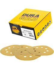 """Dura-Gold Premium - 220 Grit - 5"""" Gold Sanding Discs - 8-Hole Dustless Hook and Loop for DA Sander - Box of 50 Finishing Sandpaper Discs for Woodworking or Automotive"""