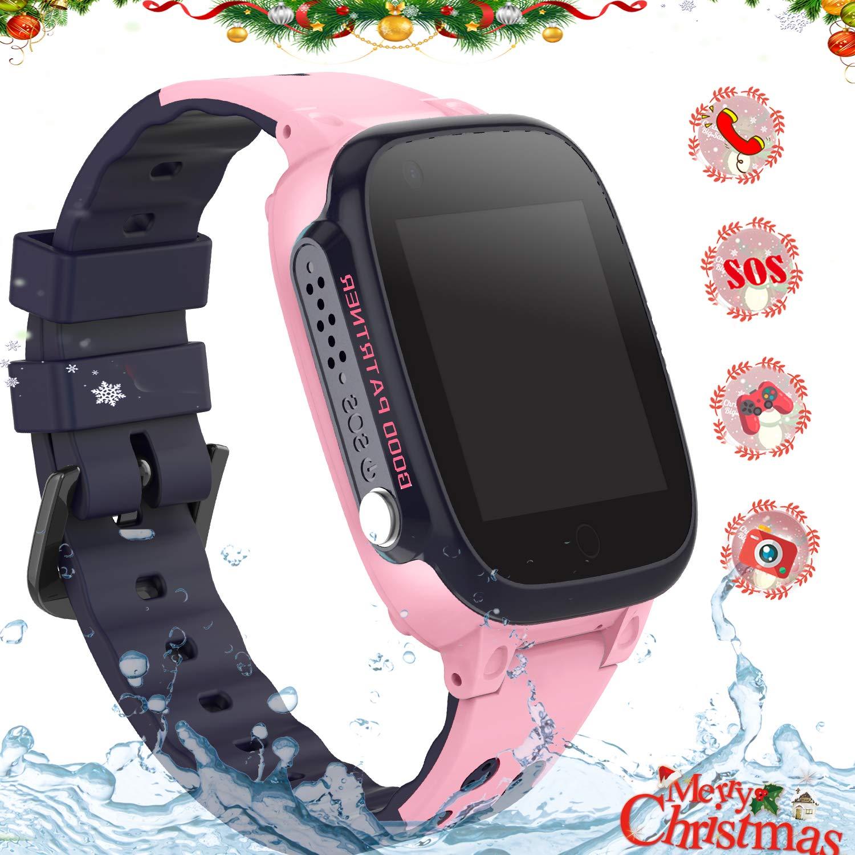 Reloj Inteligente para Niños, Smartwatch Telefono IP67 Impermeable con LBS Rastreador Conversación Bidireccional Llamada por Voz Chat SOS Cámara ...