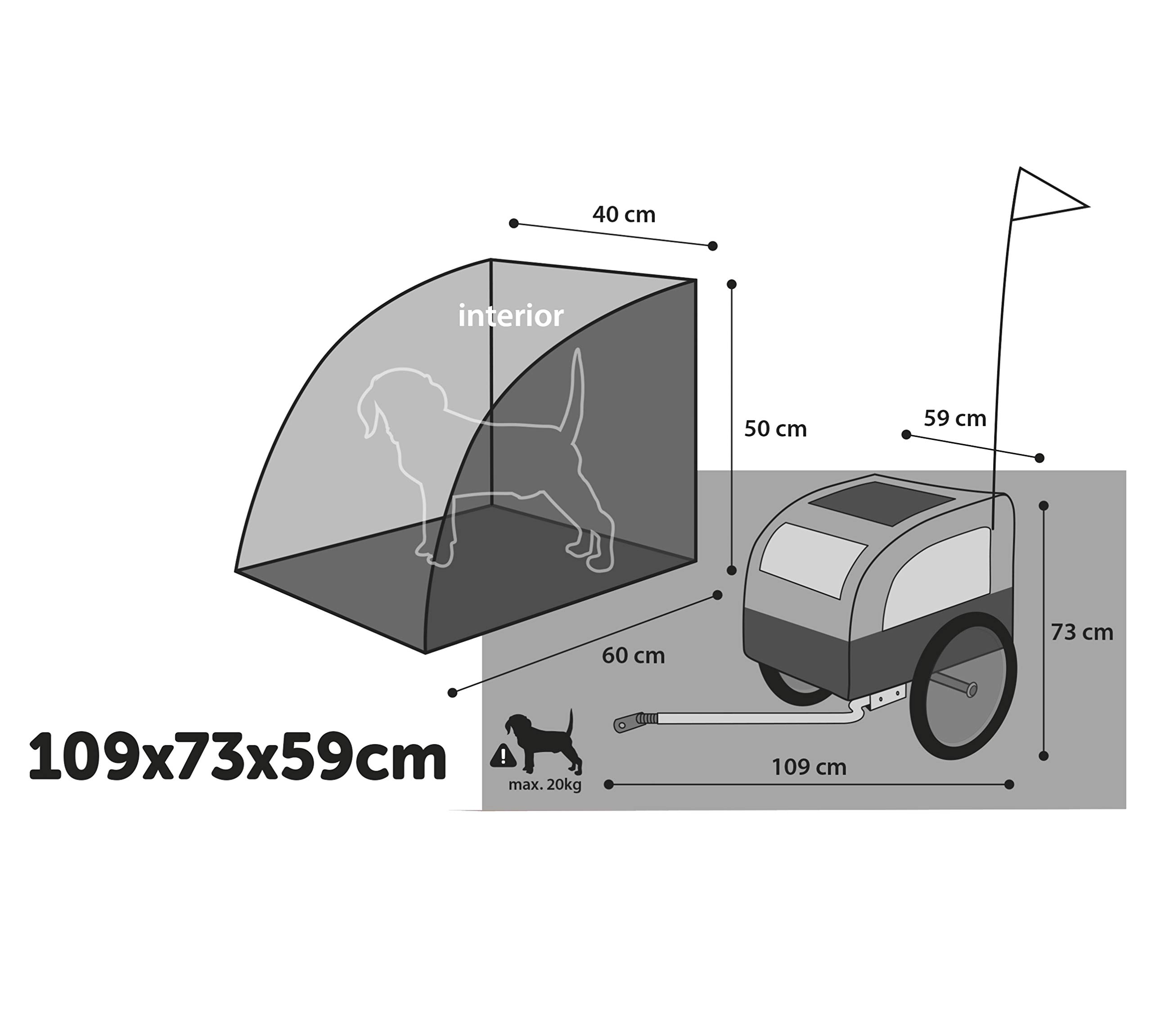 Karlie Doggy Liner Berlin Teflon Bicycle Trailer, 109 x 59 x 73 cm, Grey/Black