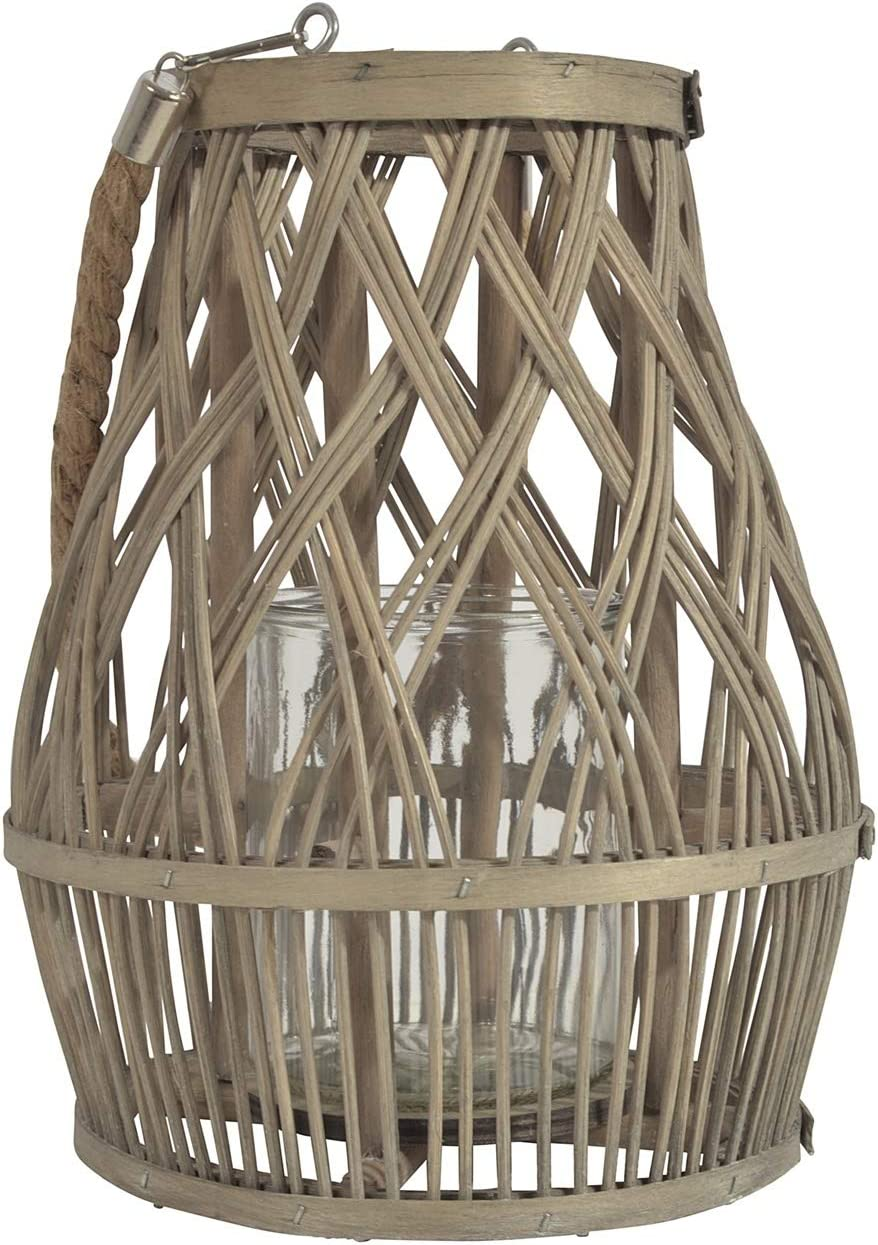 Jodeco chice Bambus Laterne /'Luna/'  grau mit Glaseinsatz 27 cm hoch NEU