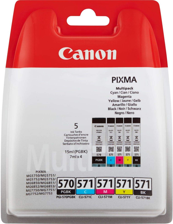 Canon PGI-570+CLI-571 5 Cartuchos Multipack de tinta original PGBK/BK/C/M/Y para Impresora de Inyeccion de tinta Pixma TS5050-TS5055-TS5053-TS5051-TS6050-TS6052-TS6051-TS8050-TS8053-TS8052-TS8051-TS90