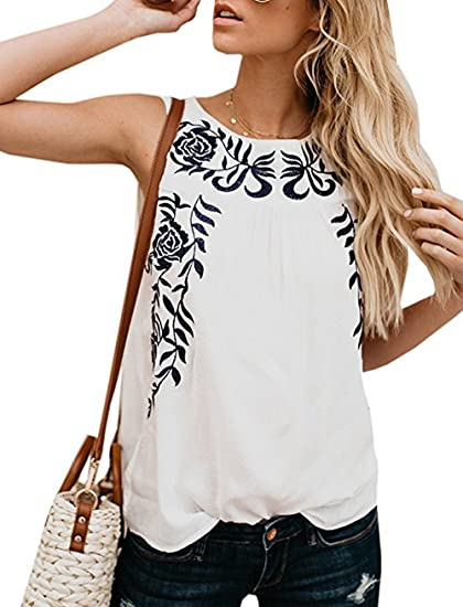 766e2cdebd0c ANDYICEE Women s Boho Tees Shirts Floral Print Sleeveless Tank Tops Casual  Summer Camis Top Blouse for