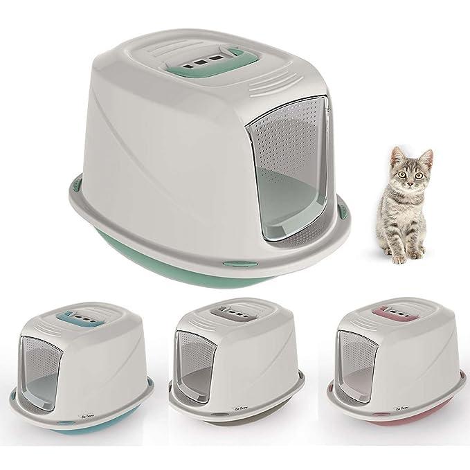 Caja de arena con tapa para gatos de Galaxy con filtro y asa de transporte , puerta abatible: Amazon.es: Productos para mascotas