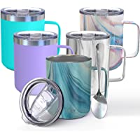 Vacuum Insulated Travel Coffee Mug - THILY 12 oz Stainless Steel Coffee Cup with Handle, Spill-Proof Lid, Keep Coffee…
