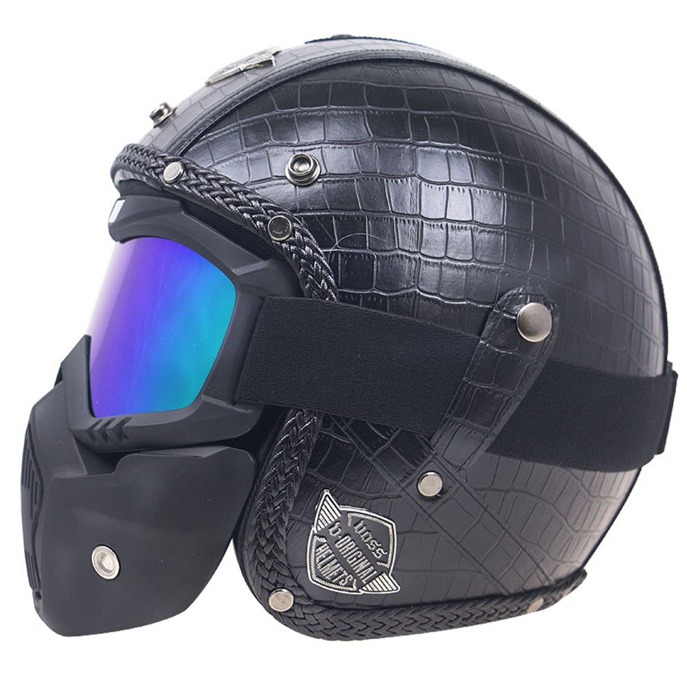 Amazon.es: KKmoon Moto Casco Abiertos Integral Estilo Vintage PU Cuero Windproof and Sandproof