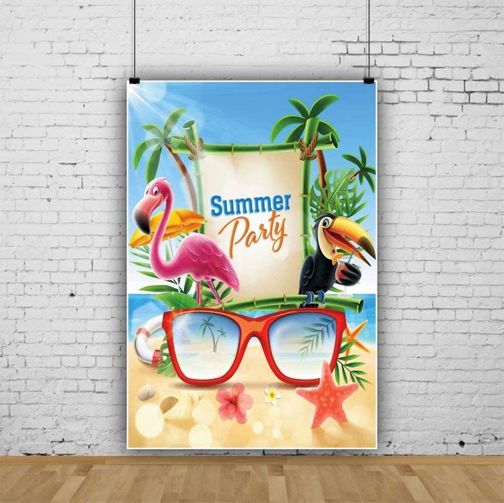 DaShan 8x12ft Tropical Summer Hawaiian Luau Party Backdrop Palm Tree Tropical Theme Kids Birthday Decor Photography Background Tropical Happy Holidays Wedding Bridal Shower Baby Shower Photo Props