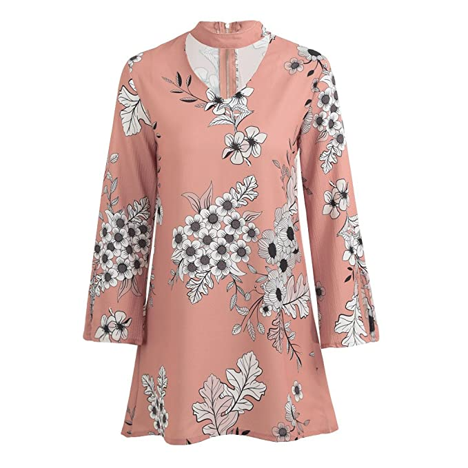 58cb76a7a07 Image Unavailable. Image not available for. Color  Romacci Autumn Women  Mini Dress Floral Print Choker V Neck Long Sleeve Casual Loose ...