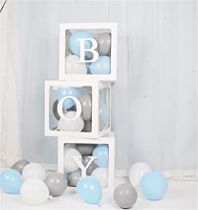 luckylibra Elephant Baby Shower Decorations For boy , B - O - Y Transparent Balloon Boxes & 30Pcs Latex Balloons