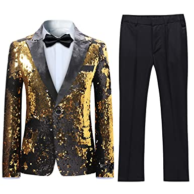 a0c429bef2b Boyland Boys 2 Pieces Suits Tuxedo Suit Shiny Sequins Peak Lapel Slim Fit  Jacket Pants Party