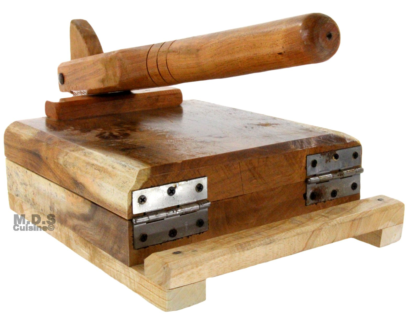 Tortilla Press Wood Tortilladora de Madera Barnizada Mezquite Tortilla Press Heavy Duty 9.5''x 9'' by K&R Kitchen Restaurant Supplies (Image #4)