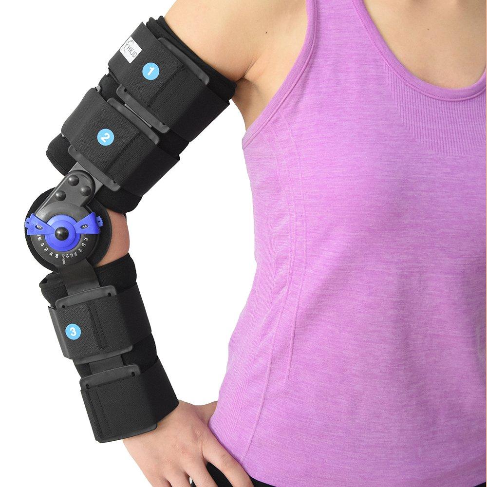 ROM hinged Elbow Brace Arm Support Splint Orthosis Orthotics Band Pad Belt Immobilizer,16.14''