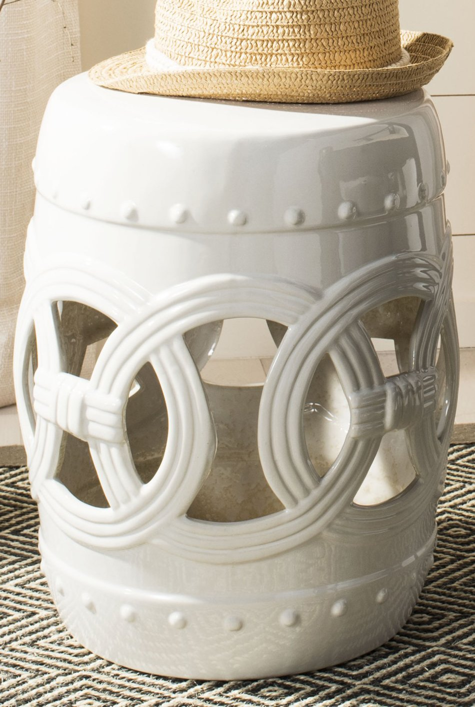 Safavieh Castle Gardens Collection Double Coin White Ceramic Garden Stool by Safavieh (Image #1)