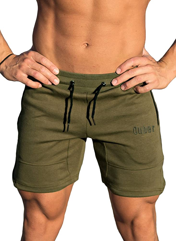 16c4603b952c Ouber Men's Training Cotton Shorts Fitted Gym Jogger Pants Short (ArmyGreen  ...