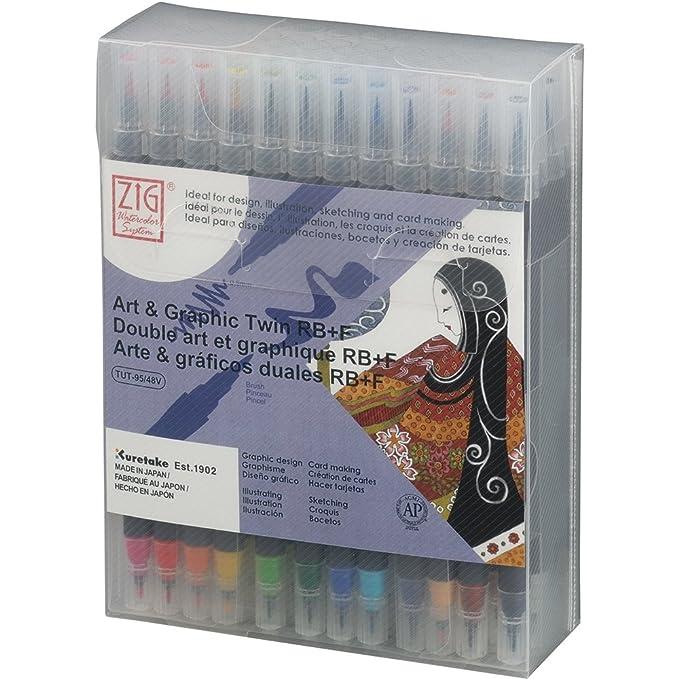 Amazon.com: Kuretake ZIG ART & GRAPHIC TWIN RB+F 48 colors ...