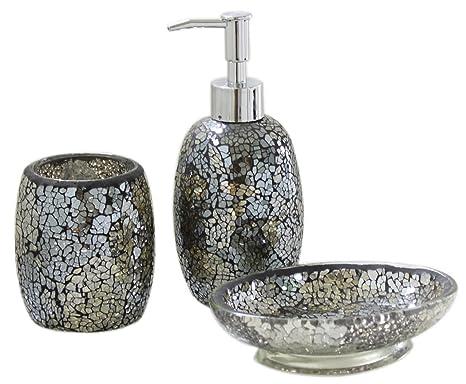 Set accessori da bagno pezzi stile moderno con vetro a