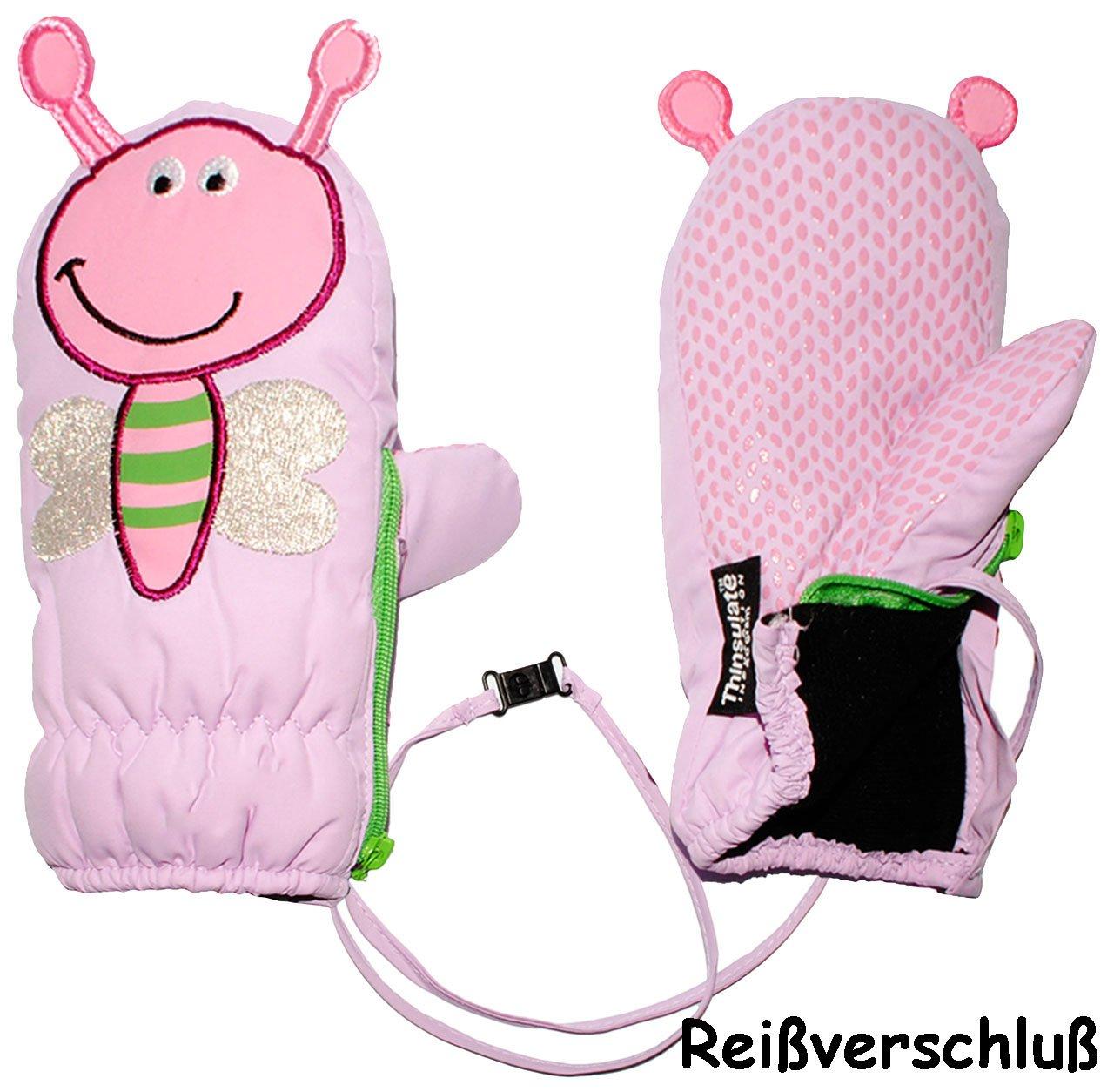 alles-meine.de GmbH Fausthandschuhe - mit Reißverschluß & langem Schaft - Gr. 9 Monate bis 12 Monate - Schmetterling 3-D Effekt - lila - LEICHT anzuziehen ! mit Daumen - Ther..
