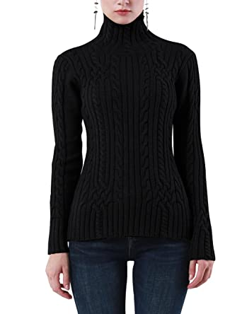 012197a1fe3 Rocorose Women s Cable Knit Long Sleeves High Neck Pullover Sweaters Black S