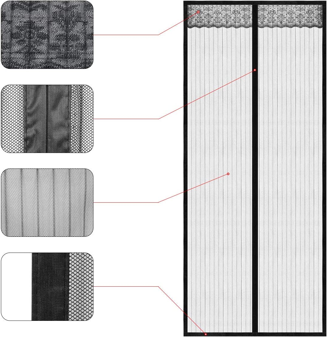Super Strong Fly Mesh 28 Magnets from Top to Bottom Ultra Seal Magnets Close Automatically 100 x 210 cm Walk Through Easily Magnetic Screen Door