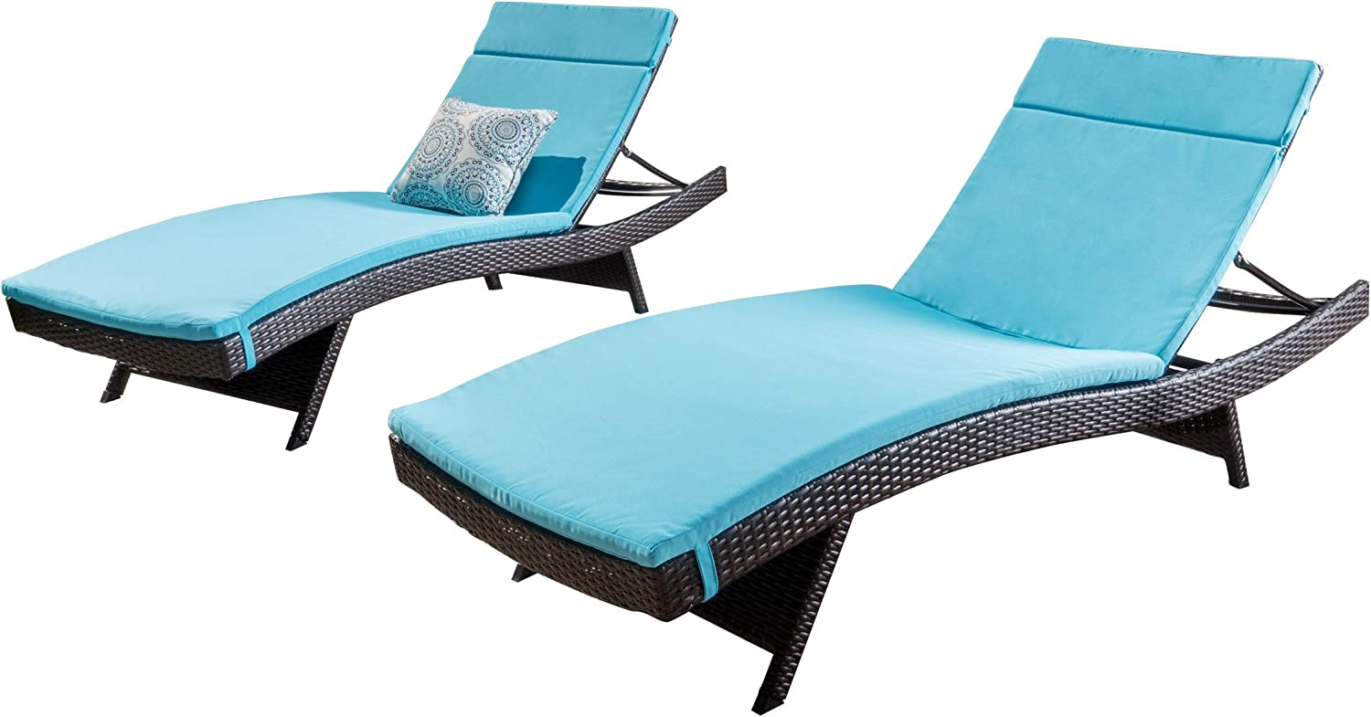 Christopher Knight Home 295119 Salem Patio Blue Chaise Lounge, Multi-Brown