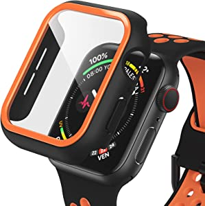 Dafill for Apple Watch Case 44mm Series 6/5/4/SE with Tempered Glass Screen Protector, Hard PC All Around Protective Cover Lightweight Ultra-Thin Bumper Compatible for iWatch 44mm - Black/Orange