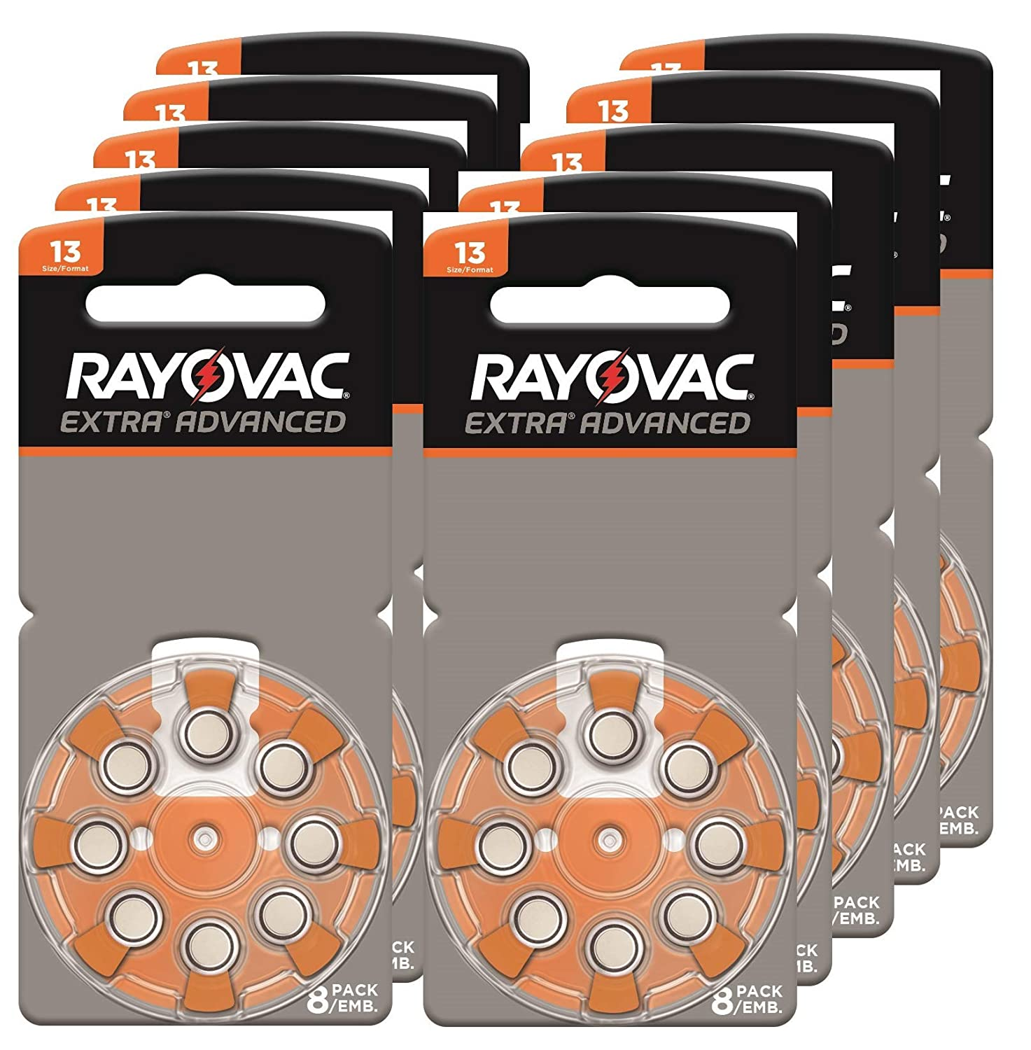 Rayovac Extra Advanced, Size 13 Mercury Free Hearing Aid Batteries (Pack 80 Batteries)