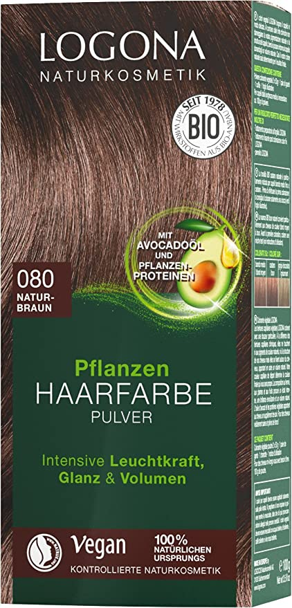 LOGONA Naturkosmetik Tinte vegetal para el cabello en polvo 080 marrón natural, con aceite de aguacate, vegano y natural, color marrón natural con ...