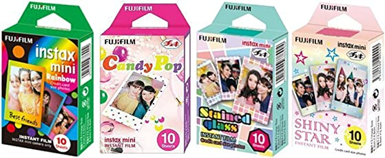 Fujifilm InstaX Mini Instant Film, Rainbow, Staind Glass, Candy Pop & Shiny Star