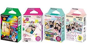 Fujifilm InstaX Mini Instant Film Rainbow & Staind Glass & Candy Pop & SHINY STAR Film -10 Sheets X 4 Assort Value Set-Best-Popular-Product