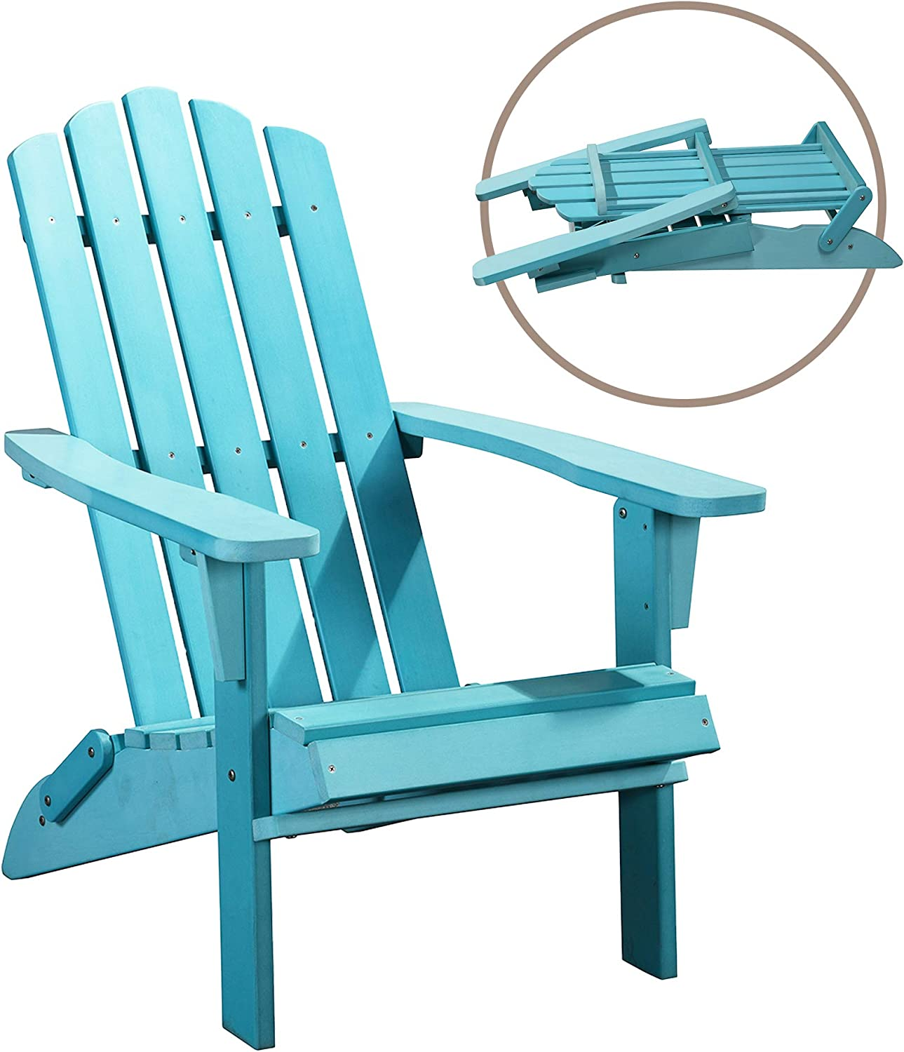 PolyTEAK Classic Folding Poly Adirondack Chair, Turquoise Blue | Adult-Size, Weather Resistant, Made from Special Formulated Poly Lumber Plastic